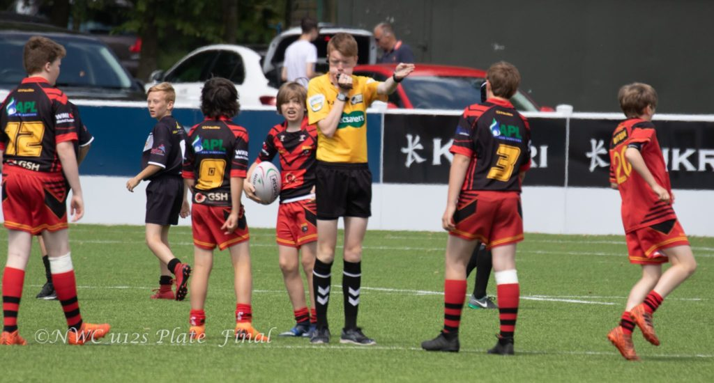 Ryan Refereeing the U12s NWC Plate Final in 2018 - Wigan St Pats v West Bank